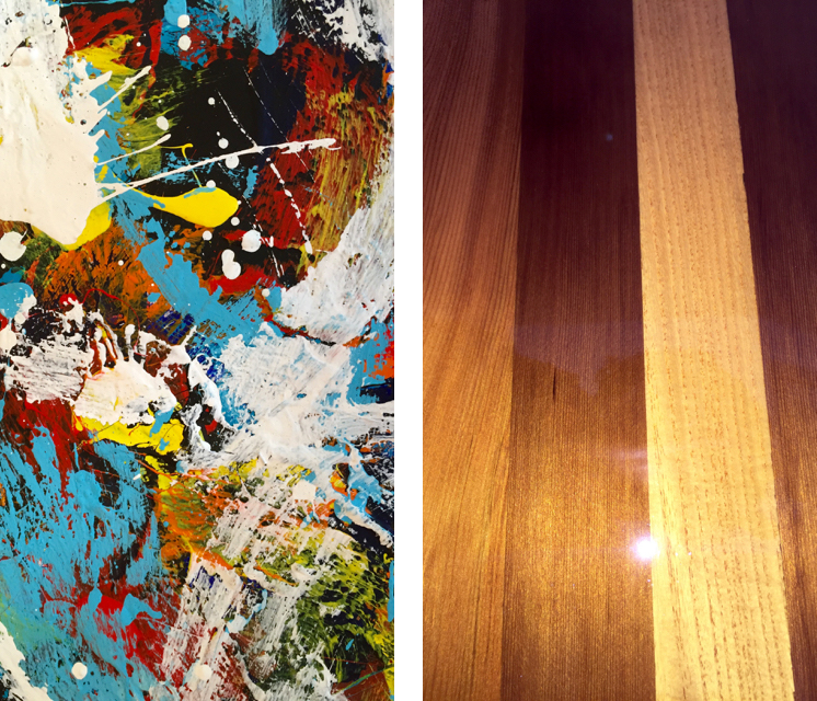 Close-ups of paint and wood