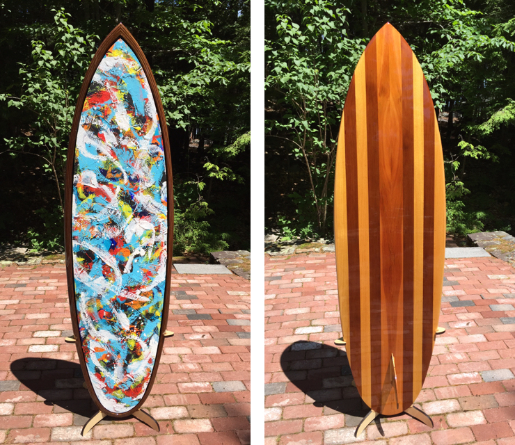 "The painted and wooden sides of ""Pelagic Pulses"""