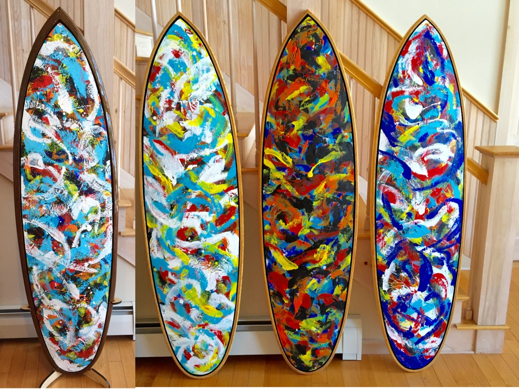 "From left to right: ""Pelagic Pulses"" ""Sea Foam"" ""Caliente!"" & ""Planck's Dream"""